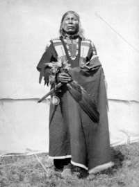 Original title:  Pisquaw (or Pasqua), Cree chief, Alberta. 1884. Photographer/Illustrator: Henrietta Muir Edwards. Image courtesy of Glenbow Museum, Calgary, Alberta.