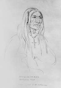 Original title:  Seen From Afar, or Peenaquim, head chief of the Bloods. Date: 1855. Photographer/Illustrator: Sohon, Gustavus. Image courtesy of Glenbow Museum, Calgary, Alberta.
