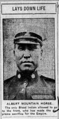 Titre original :  Albert Mountain Horse. From the Calgary Herald, Calgary, Alberta, Canada, 25 Nov 1915, p5.