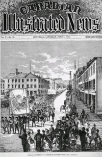 Original title:  Digitized page of Canadian Illustrated News. Title: Procession of Nine-Hour Movement Men [Hamilton]. Artist: Unknown. Date: 1872-06-08. Pagination: vol.V, no. 23. 353.  http://www.bac-lac.gc.ca/eng/discover/canadian-illustrated-news-1869-1883/Pages/item.aspx?IdNumber=2625&