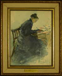 Titre original :  Watercolour on paper, Charlotte Smithers, Mrs Joseph Bowles Learmont (1845-1934) by Beatrice M. L. Huntington. Collection: Quebec House, Kent, National Trust.