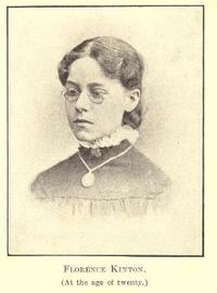 Original title:  Florence Kinton (at the age of twenty). From: Just one blue bonnet; the life story of Ada Florence Kinton, artist and salvationist. Told mostly by herself with pen and pencil, by Ada Florence Kinton, edited by Sara A. Randleson. W. Briggs, Toronto: 1907.  Source: https://archive.org/details/justonebluebonne00kintuoft/page/n71/mode/2up.