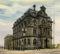 Titre original :  Custom House (1876-1919), Front St. W., s.w. cor. Yonge St. - by architect Kivas Tully. Image from the Toronto Public Library, Baldwin Collection.