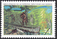 Titre original :  Brûlé approche du lac Supérieur = Brûlé nears Lake Superior [philatelic record].  Philatelic issue data Canada : 34 cents