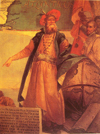 "Original title:    Description Painting of John Cabot. Date 1762(1762) Source John Cabot in traditional Venetian garb by Giustino Menescardi (1762). A mural painting in the 'Sala dello Scudo' in the Palazzo Ducale. Taken from a reproduction in ""History of Maritime maps"", Donald Wigal Author Giustino Menescardi"