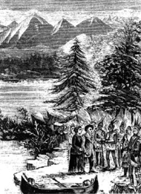 Original title:  Meeting of Marie-Anne and Jean-Baptiste Lagimodière with First Nations people, c. 1807