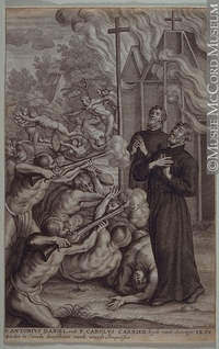 Titre original :  Print Jesuit Martyrs. Death of Father Antoine Daniel and Father Charles Garnier Lommelin About 1680, 17th century 29 x 18.6 cm Gift of Mr. David Ross McCord M2210 © McCord Museum Keywords:  event (534) , History (944) , Print (10661)