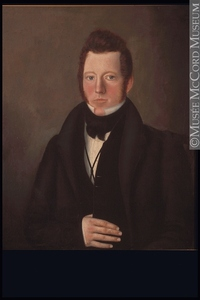 Original title:  Painting Portrait of Robert McVicar, 1832 Nelson Cook 1832, 19th century 73.6 x 63.5 cm Gift of Mrs. George A. McVicar M14908 © McCord Museum Keywords:  male (26812) , Painting (2229) , painting (2226) , portrait (53878)