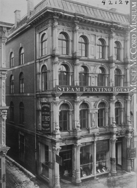 Original title:  Photograph Louis Perrault & Co Printers, St. James Street, Montreal, QC, 1869-70 William Notman (1826-1891) 1869-1870, 19th century Silver salts on paper mounted on paper - Albumen process 17.8 x 12.7 cm Purchase from Associated Screen News Ltd. I-42124.1 © McCord Museum Keywords:  Architecture (8646) , commercial (1771) , Photograph (77678)