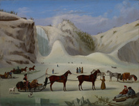 Original title:    Artist Robert Clow Todd 1866 (Canadian) (Painter, Details of artist on Google Art Project) Title The Ice Cone, Montmorency Falls, Québec Object type Unknown Date c. 1845 Medium oil on canvas English: oil on canvas Dimensions Height: 512 mm (20.16 in). Width: 679 mm (26.73 in). Current location Art Gallery of Ontario Native name Art Gallery of Ontario Location Toronto Coordinates 43° 39′ 14.0″ N, 79° 23′ 34.0″ W Established 1900, renamed 1966 Website www.ago.net Accession number 87/94 Source/Photographer Google Art Project: Home - pic