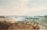 Titre original :  Fort (or Port?) Collier, from the North North West, and Drummond Island, Lake Huron.; Author: WOOLFORD, JOHN ELLIOTT (1778-1866); Author: Year/Format: 1821, Picture