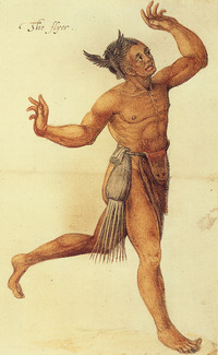 Original title:    Description English: Man of the Secotan Indians in North Carolina. Watercolour painted by John White in 1585. Deutsch: Mann der Secotan-Indianer in North Carolina. Aquarell von John White aus dem Jahr 1585. Date 1585(1585) Source British Museum, London Author John White, explorer and artist