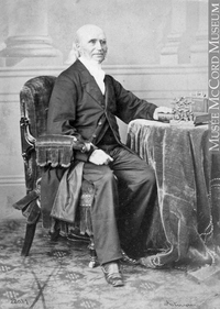 Original title:  Photograph Rev. Dr. Cramp, Montreal, QC, 1866 William Notman (1826-1891) 1866, 19th century Silver salts on paper mounted on paper - Albumen process 8.5 x 5.6 cm Purchase from Associated Screen News Ltd. I-22057.1 © McCord Museum Keywords:  male (26812) , Photograph (77678) , portrait (53878)