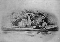 Titre original :  Sir John Glover, Governor of Newfoundland, and Lady Glover with their dog Fogo in a canoe.