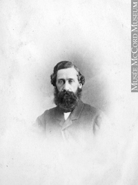 Original title:  Photograph Joseph Gould, Montreal, QC, 1865 William Notman (1826-1891) 1865, 19th century Silver salts on paper mounted on paper - Albumen process 8.5 x 5.6 cm Purchase from Associated Screen News Ltd. I-14058.1 © McCord Museum Keywords:  male (26812) , Photograph (77678) , portrait (53878)