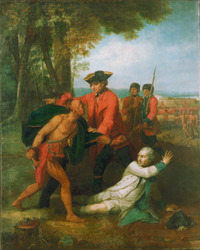 Titre original :  William Johnson saving the life of Baron Dieskau at the Battle of Lake George, 1755