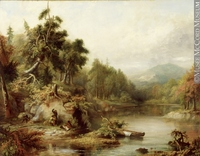 Titre original :  Painting Abenaki Hunters with Dead Caribou & Bark Canoe at Big Rock, Memphremagog, 1868 Robert Reginald Whale 1868, 19th century Oil on canvas 54 x 70 cm Gift of Mr. A. Sidney Dawes M965.145.17 © McCord Museum Keywords:  Painting (2229) , painting (2226)
