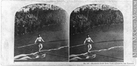 Original title:  Photograph Blondin's tightrope feat, crossing the Niagara River, ON, 1859 London Stereoscopic Company 1859, 19th century Silver salts on paper mounted on card - Albumen process 7 x 15 cm MP-0000.3137 © McCord Museum Keywords:  event (534) , History (944) , Photograph (77678)