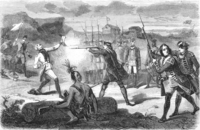 Titre original :    Description English: In this artist's version of the incident at Jumonville Glen, the English under the command of George Washington are depicted as murdering the defenseless French commander Jumonville in cold blood. Contemporary accounts of the incident are contradictory; it is more likely that Jumonville was in fact tomahawked by the Indian leader Tanaghrisson while Washington watched without intervening. Date 2010-08-18 22:29 (UTC) Source Assassinat_de_Jumonville.png Author Assassinat_de_Jumonville.png: unknown illustrator derivative work: Saibo (Δ) Other versions File:AssasinatdeJumonville.png (Moiré artifacts) File:Assassinat_de_Jumonville.png (orig from raw scan) File:Assassinat_de_Jumonville-2.png (reworked by Saibo)    This is a retouched picture, which means that it has been digitally altered from its original version. Modifications: 400% bicubic, retouched the most in