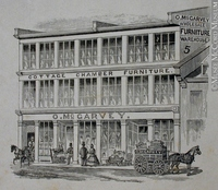 Original title:  Engraving O. McGarvey wholesale furniture warehouse John Henry Walker (1831-1899) 1850-1885, 19th century Ink on paper on supporting paper - Wood engraving 10.2 x 12.3 cm Gift of Mr. David Ross McCord M930.50.7.300 © McCord Museum Keywords:  Architecture (8646) , commercial (1771) , Print (10661)