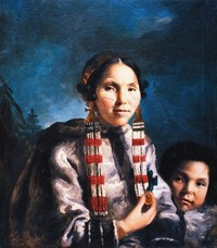 Original title:    Description English: Painting of Inuit Mikak and her son Tukauk. Painting by John Russell in 1769, commissioned by Joseph Banks. This painting currently hangs in the Institute of Cultural and Social anthropology, Georg-august University of Göttingen, Germany Date 1769 Source http://pubs.aina.ucalgary.ca/arctic/Arctic62-1-45.pdf Author Painted by John Russell in 1769