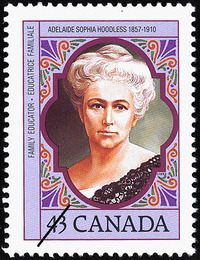 Titre original :  Adelaide Sophia Hoodless, 1857-1910, family educator = Adelaide Sophia Hoodless, 1857-1910, éducatrice familiale [philatelic record].  Philatelic issue data Canada : 43 cents