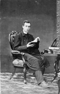 Original title:  Photograph Rev. Edmund Wood, Montreal, QC, 1861 William Notman (1826-1891) 1861, 19th century Silver salts on paper mounted on paper - Albumen process 8.5 x 5.6 cm Purchase from Associated Screen News Ltd. I-503.1 © McCord Museum Keywords:  male (26812) , Photograph (77678) , portrait (53878)