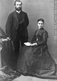 Original title:  Photograph Mr. and Mrs. J. Breakey, Montreal, QC, 1867 William Notman (1826-1891) 1867, 19th century Silver salts on paper mounted on paper - Albumen process 8.5 x 5.6 cm Purchase from Associated Screen News Ltd. I-28994.1 © McCord Museum Keywords:  couple (556) , Photograph (77678) , portrait (53878)