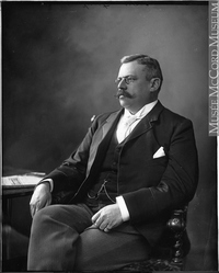 Original title:  Photograph Mr. Louis Joseph Forget, Montreal, QC, 1893 Wm. Notman & Son 1893, 19th century Silver salts on glass - Gelatin dry plate process 25 x 20 cm Purchase from Associated Screen News Ltd. II-101302 © McCord Museum Keywords:  male (26812) , Photograph (77678) , portrait (53878)
