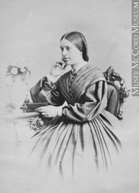 Original title:  Photograph Miss Jessie Turnbull, QC, 1863 William Notman (1826-1891) 1863, 19th century Silver salts on paper mounted on paper - Albumen process 8.5 x 5.6 cm Purchase from Associated Screen News Ltd. I-8280.1 © McCord Museum Keywords:  female (19035) , Photograph (77678) , portrait (53878)