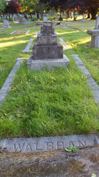 "Original title:    Description English: Grave of John Thomas Walbran and Anne Mary Walbran, married 1871-05-09. The grave is in Ross Bay Cemetery at Block T, Plot 84W46, meaning 84 west of road 46. The front face of the plinth is inscribed ""ANNE MARY OF RIPON, YORKSHIRE ENG. WIFE OF JOHN T. WALBRAN BORN MARCH 23RD 1848 DIED MARCH 31ST 1913 THY WILL BE DONE"". The side of the plinth is inscribed ""CAPT. JOHN T. WALBRAN OF RIPON YORKSHIRE ENG. BORN MARCH 23RD 1848 DIED MARCH 31ST 1913 AT ANCHOR IN THE HAVEN OF REST"". Date 27 June 2012 Source Donated by Trudy Rotgans and Terrence Hanlon. Author Trudy Rotgans and Terrence Hanlon Permission (Reusing this file) Given by the authors. Contact the authors via PeterEasthope (talk) 15:52, 8 July 2012 (UTC)."
