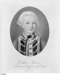Original title:  Portrait de Gother Mann, 16 ans en 1763, officier de haut rang des Royal Engineers