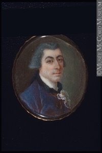 Original title:  Painting, miniature Portrait of William Nelson (1750-1834) Anonyme - Anonymous 1750-1800, 18th century 3.9 x 3.2 cm Purchase from Mr. John L. Russell M22339 © McCord Museum Keywords:  male (26812) , Painting (2229) , painting (2226) , portrait (53878)