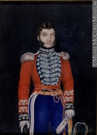 Original title:  Painting, miniature Col. Michel Louis Juchereau Duchesnay, about 1808 Cromwell About 1808, 19th century 12 x 8.6 cm Gift of Miss L.H.Campbell M985.138.3 © McCord Museum Keywords:  male (26812) , Painting (2229) , painting (2226) , portrait (53878)