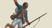Titre original :  'An illustration of Black Loyalist Richard Pierpoint (artwork by Malcolm Jones, courtesy Canadian War Museum/1.E.2.4-CGR2).'