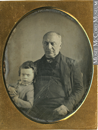 Original title:  Photograph Benjamin Hart with grandson Gerald Ephraim Hart, 1852-55 Anonyme - Anonymous 1852-1855, 19th century Silver amalgam on metal (copper) - Daguerreotype 8.9 x 6.9 cm Gift of Mr. Gerald Ephraim Hart MP-0000.154.2 © McCord Museum Keywords: