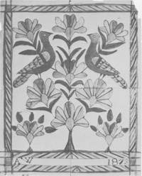 Titre original :  Two Birds in Flowered Tree, by Anna Weber Source: Anna's art : the fraktur art of Anna Weber, a Waterloo County Mennonite artist, 1814-1888 E. Reginald Good. -- Kitchener : Pochauna Publications, [1976]. -- 48 p. : ill. (some col.) ; 26 cm. -- ISBN 0969063008. -- P. 26 © Public Domain nlc-4385