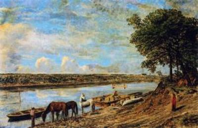Titre original :  Red River Ferry across to St. Boniface - William George Richardson Hind - The Athenaeum