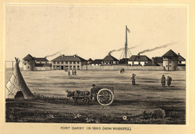 Original title:  Fort Garry in 1860 (1885) | by Manitoba Historical Maps