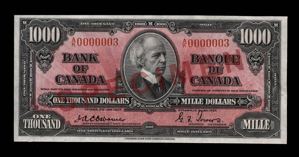 Titre original :  Canada, Bank of Canada, 1,000 dollars : January 2, 1937