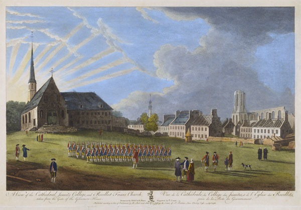 Original title:  MIKAN 2877424 MIKAN 2877424: A View of the Cathedral, Jesuits College, and Recollet Friars Church. Vue de la Cathédrale, du Collège des Jésuites, et de l'Eglise des Recollets,. September 1, 1761. (with inscription) [96 KB, 600 X 420]