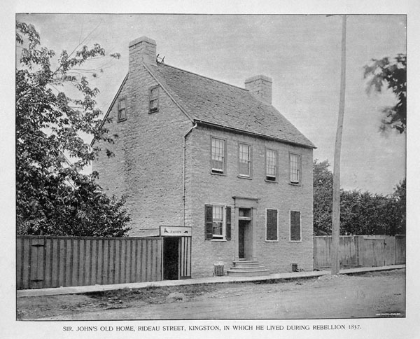 Titre original :  MIKAN 3317354 MIKAN 3317354: Sir John's old home, Rideau Street, Kingston, in which he lived during Rebellion 1837. [109 KB, 600 X 484]