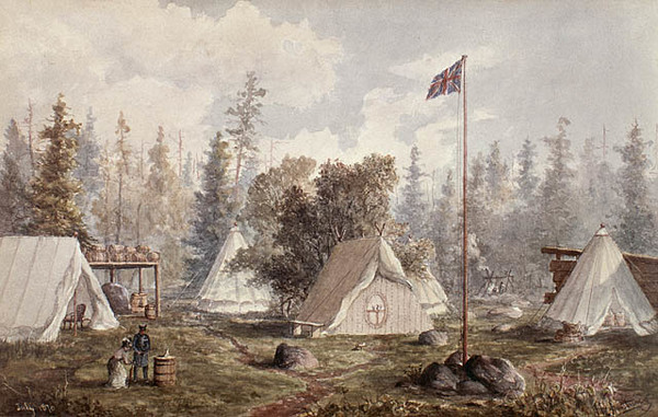 Original title:  MIKAN 2833387 Red River Expedition, Colonel Wolseley's Camp, Prince Arthur Landing on Lake Superior,. July 1870 [68 KB, 640 X 406]