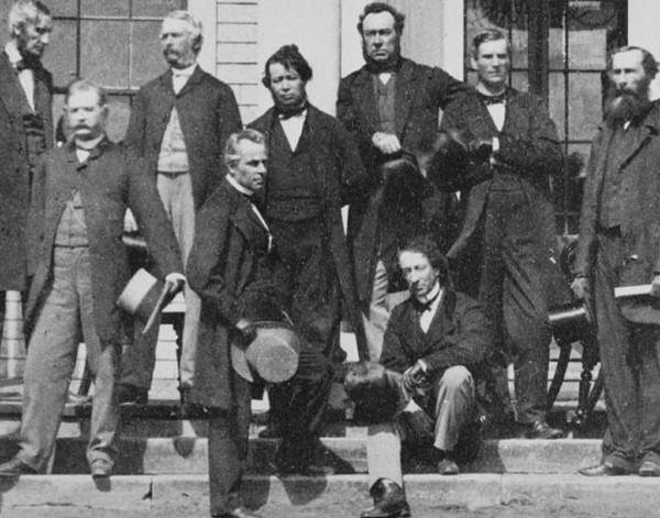 Original title:  MIKAN 3194513 Delegates who gathered at the Charlottetown Conference to consider the confederation of the British North American colonies. Sept. 1864 [66 KB, 640 X 502]