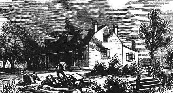Original title:  'Joseph Willcocks band of American and pro-American Canadians living in Upper Canada engaged in widespread looting and burning farmhouses (public domain).'
