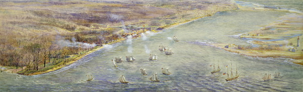 Original title:  Bird's-eye view looking northeast from approximately foot of Parkside Drive, showing arrival of American fleet prior to capture of York, 27 April 1813. : Toronto Public Library