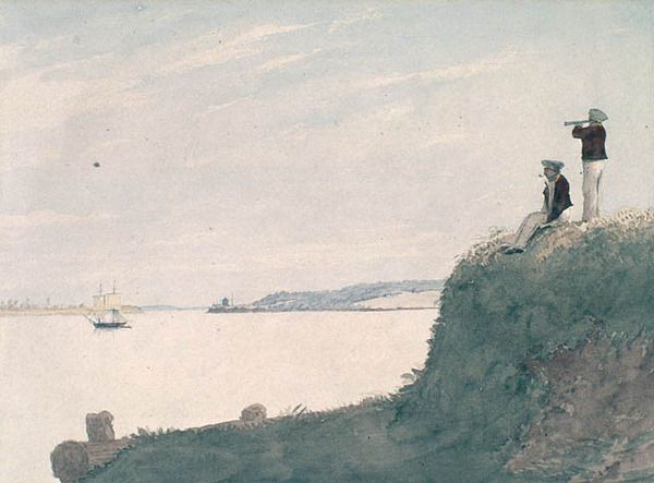 Titre original :  Mouth of Charlottetown Harbour and its Blockhouse, Prince Edward Island.