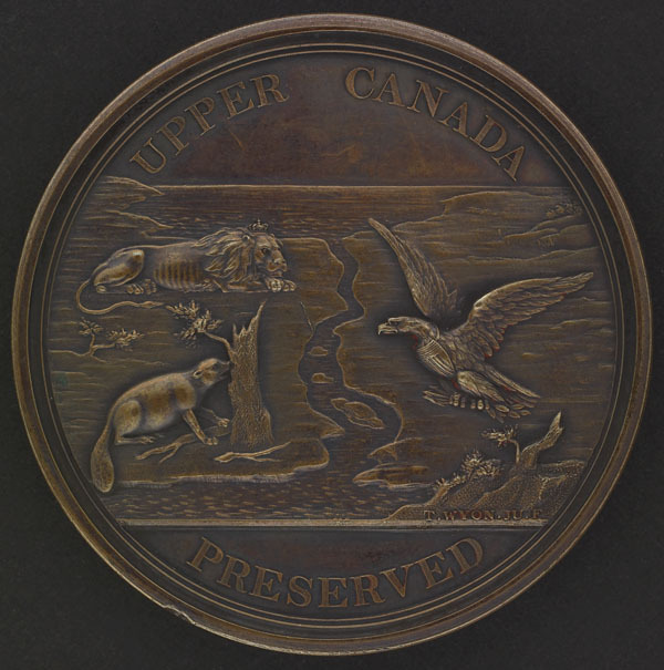 "Original title:  Loyal and Patriotic Society of Upper Canada ""Upper Canada Preserved"" Medal, intended for Veterans of the War of 1812."