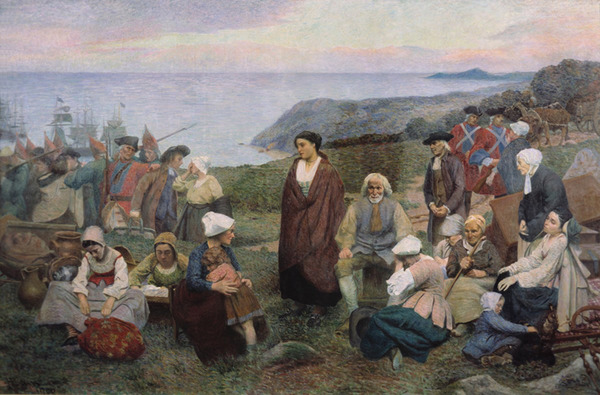 Original title:    Description Français : La Déportation des Acadiens, par Henri Beau (1863-1949). English: The Deportation of the Acadians, by Henri Beau (1863-1949). Date 1900 Source http://www.ameriquefrancaise.org/fr/article-683/Le_camp_d%E2%80%99Esp%C3%A9rance,_les_r%C3%A9fugi%C3%A9s_acadiens_de_la_Miramichi,_1756-1761.html#.UPIovHcTSSo Author Henri Beau