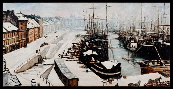 Original title:  Montreal Harbor View, 1865 by Ross Rheaume